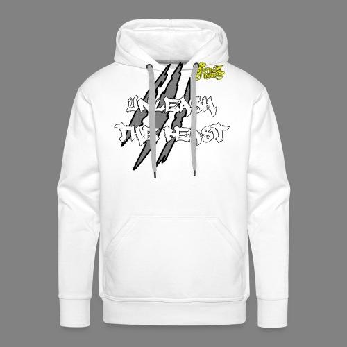 Face_avant_blanc_jaune - Sweat-shirt à capuche Premium pour hommes