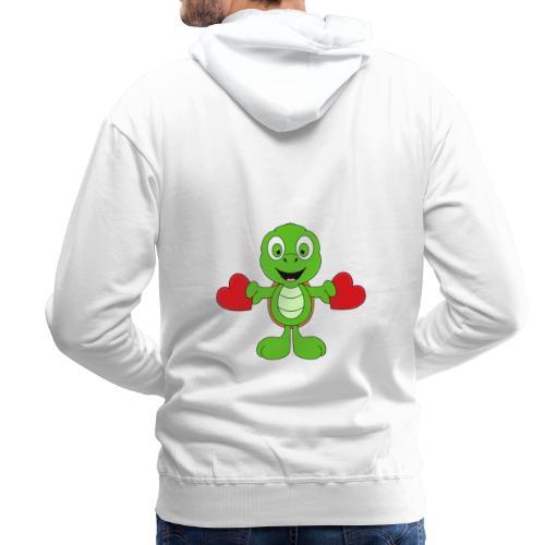 Lustige Schildkröte - Turtle - Herzen - Liebe - Männer Premium Hoodie