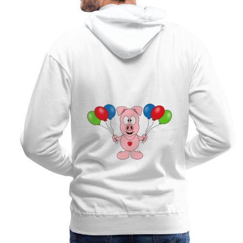 Lustiges Schwein - Luftballons - Geburtstag - Kids - Männer Premium Hoodie