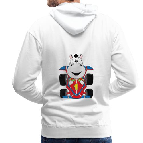 Lustiges Zebra - Rennauto - Auto - Nummer 1 - Männer Premium Hoodie