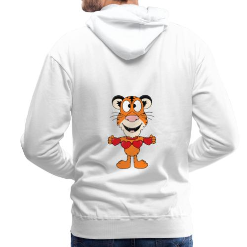 Lustiger Tiger - Herzen - Liebe - Love - Fun - Männer Premium Hoodie