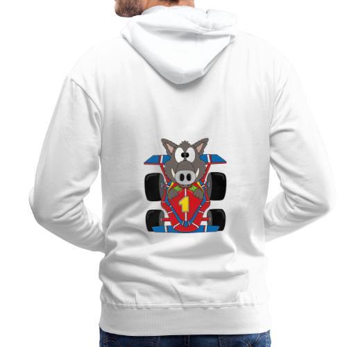 Lustiges Wildschwein - Rennwagen - Auto - Tier - Männer Premium Hoodie