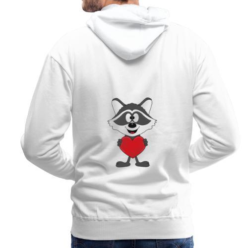 Waschbär - Herz - Liebe - Love - Kind - Tier - Männer Premium Hoodie