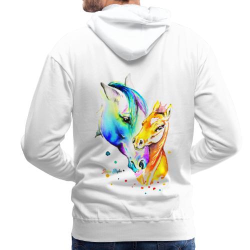 Jument et son poulain - Sweat-shirt à capuche Premium pour hommes