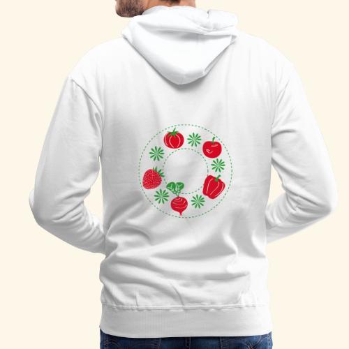 Frutos rojos del huerto - Sudadera con capucha premium para hombre