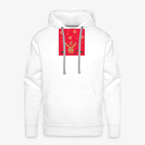 Santa Claus on a red background and snowflake - Men's Premium Hoodie