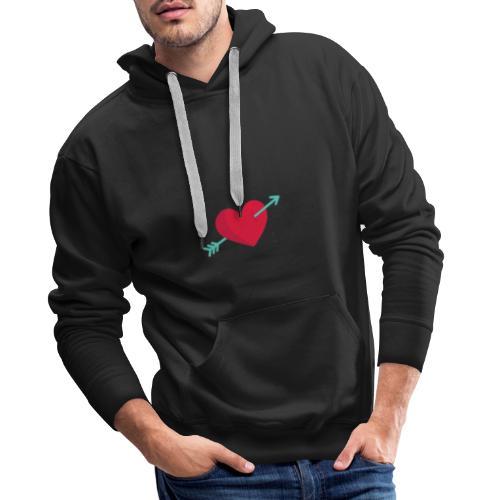 Corazón atravesado por una flecha - Sudadera con capucha premium para hombre