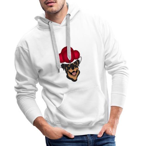 Rottweiler mit rotem Bollenhut - Männer Premium Hoodie