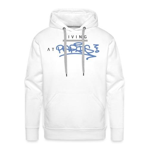 Living @ Paris street letters - Sweat-shirt à capuche Premium pour hommes