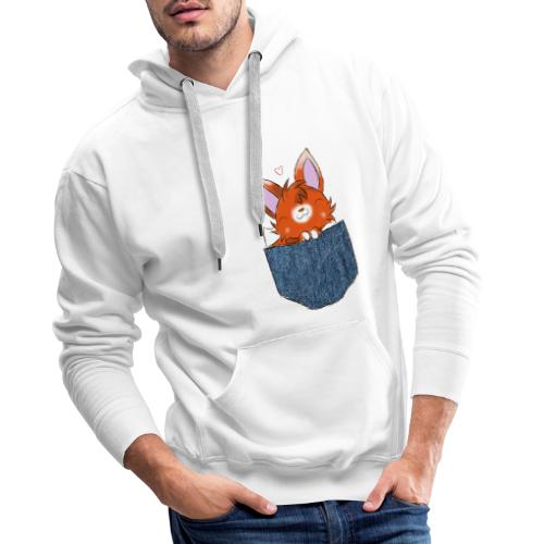 Cute Fox in pocket - Sweat-shirt à capuche Premium pour hommes