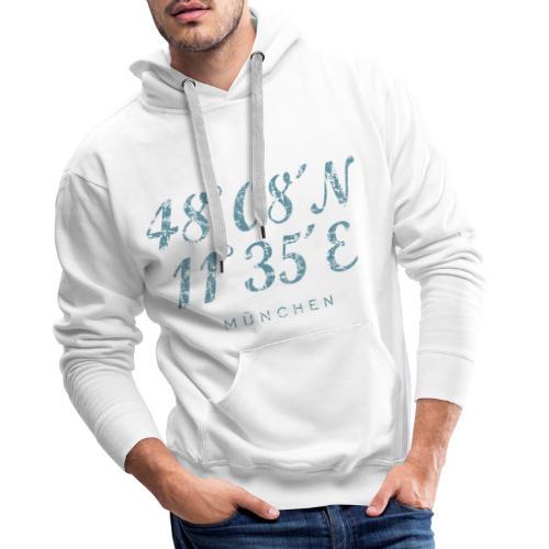 München Koordinaten (Vintage Hellblau) - Männer Premium Hoodie