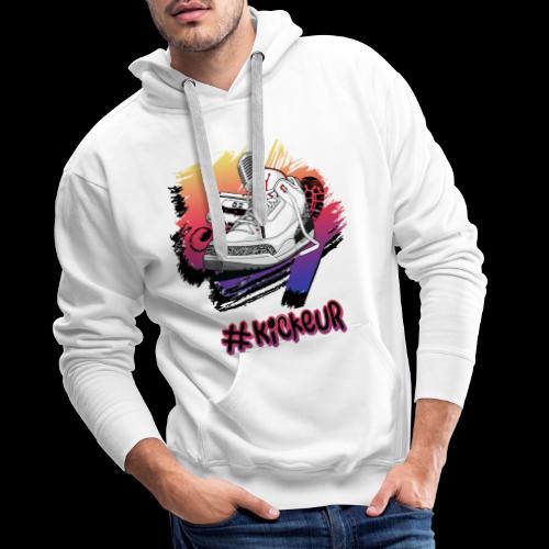 #Kickeur Noir - Sweat-shirt à capuche Premium pour hommes