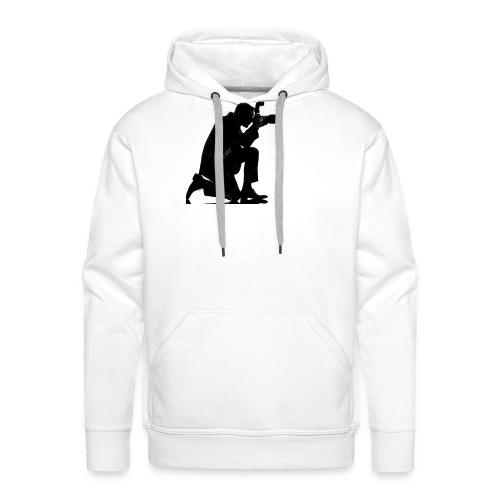 silueta de un hombre caucasico de rodillas - Sudadera con capucha premium para hombre