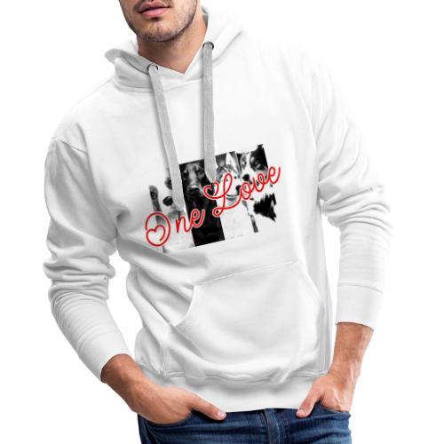 one love dogs - Sweat-shirt à capuche Premium pour hommes