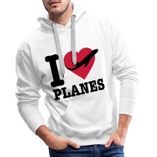 Uwielbiam samoloty - czarne - Bluza męska Premium z kapturem