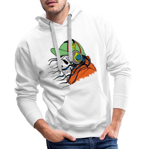 tête de mort avec casquette - Sweat-shirt à capuche Premium pour hommes
