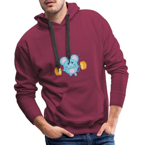little mouse, mouse, mouse on sports, mouse with barbell - Men's Premium Hoodie