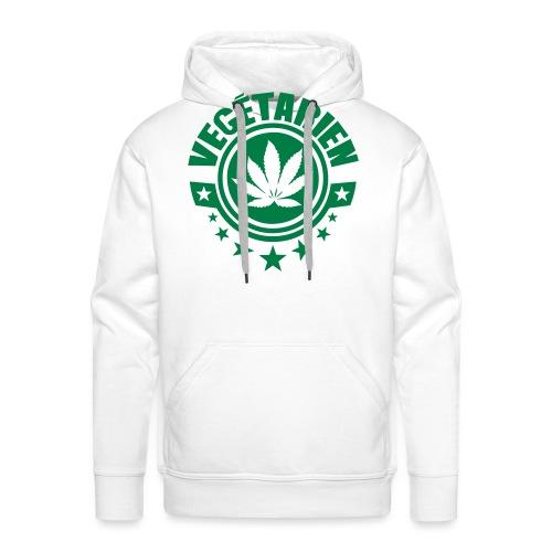 vegetarien feuille cannabis logo - Sweat-shirt à capuche Premium pour hommes