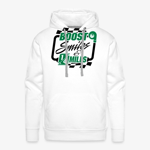Boost Smiles & Quarter Miles Green & Black Print - Men's Premium Hoodie