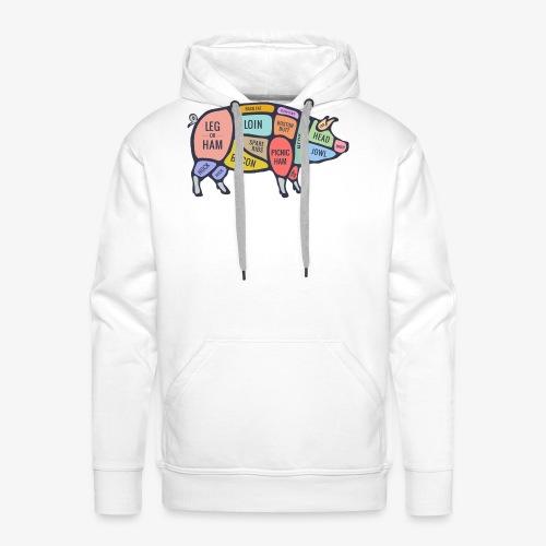 pig diagram - Mannen Premium hoodie