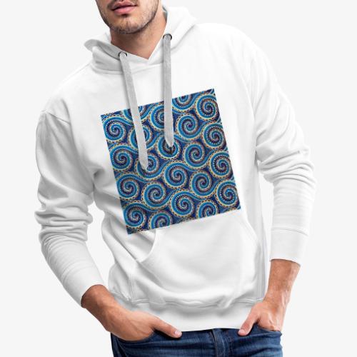 Spirales au motif bleu - Sweat-shirt à capuche Premium pour hommes