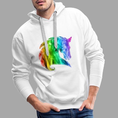 Rainbow Horse - Felpa con cappuccio premium da uomo