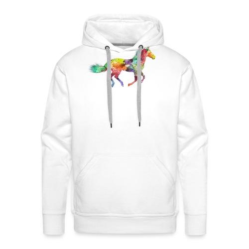Cheval multicolore - Sweat-shirt à capuche Premium pour hommes