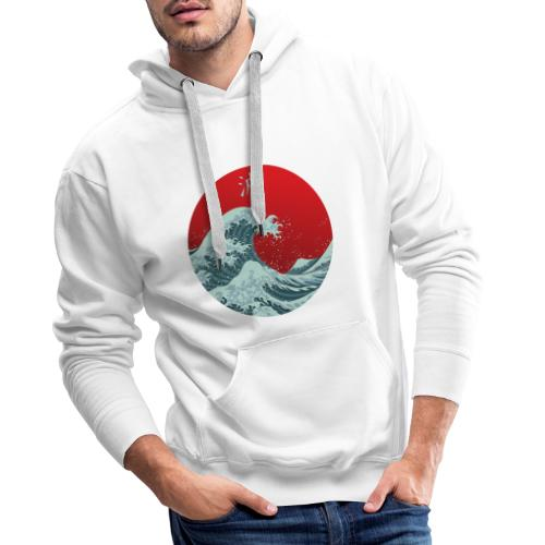 Kanagawa waves - Felpa con cappuccio premium da uomo