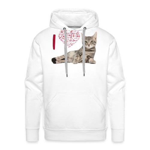 I LOVE CATS - Sudadera con capucha premium para hombre