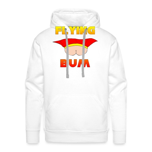 Flying Bum (face on) with text - Men's Premium Hoodie