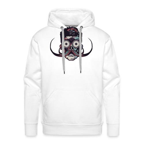 hipster tete de mort crane barbu skull moustache b - Sweat-shirt à capuche Premium pour hommes