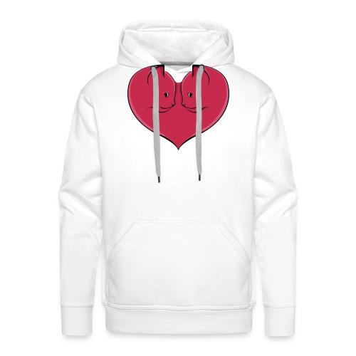 chat coeur - Sweat-shirt à capuche Premium pour hommes