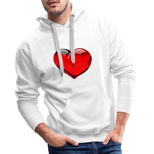 serce 3D - Bluza męska Premium z kapturem