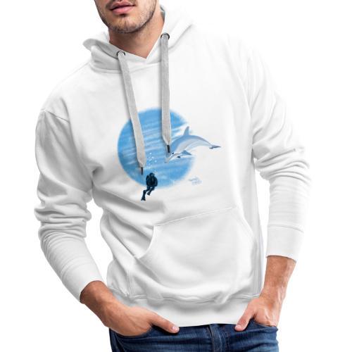 Dolphin and diver - Maillots - Sweat-shirt à capuche Premium pour hommes
