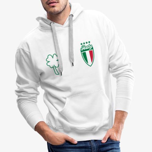 Italia Scudo e trifoglio - Felpa con cappuccio premium da uomo