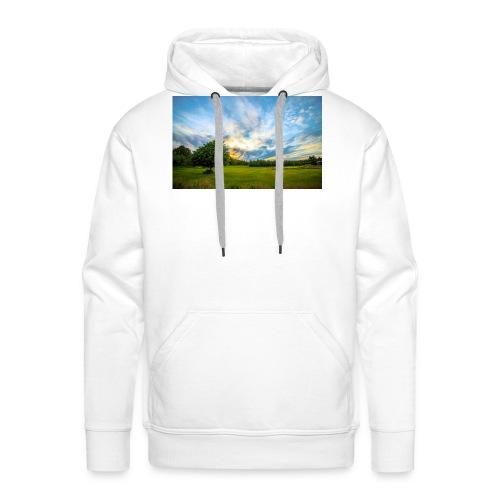 Meadow trees dawn clouds 1920x1200 - Männer Premium Hoodie