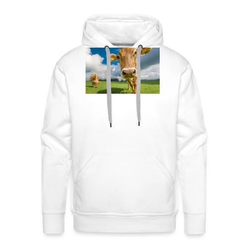 cow switzerland pasture green meadow clouds - Männer Premium Hoodie