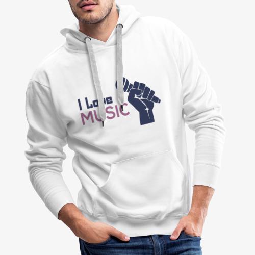 Amo la música - Sudadera con capucha premium para hombre