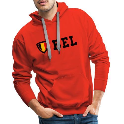 BEL Belgium Blason tricolore Football - Sweat-shirt à capuche Premium pour hommes