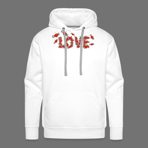Latające miłości serc - Bluza męska Premium z kapturem