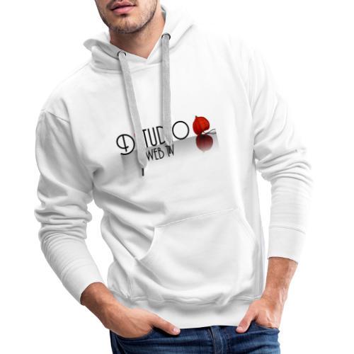 DSTUDIO ECRIT AVEC CAGE DAMOUR ET REFLET NOIR WEB - Sweat-shirt à capuche Premium pour hommes