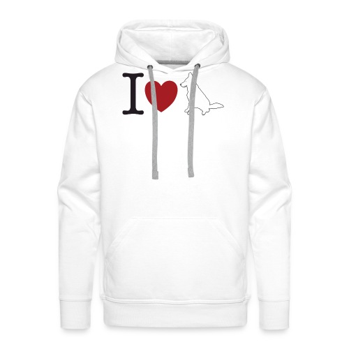I LOVE White Dog - Bluza męska Premium z kapturem