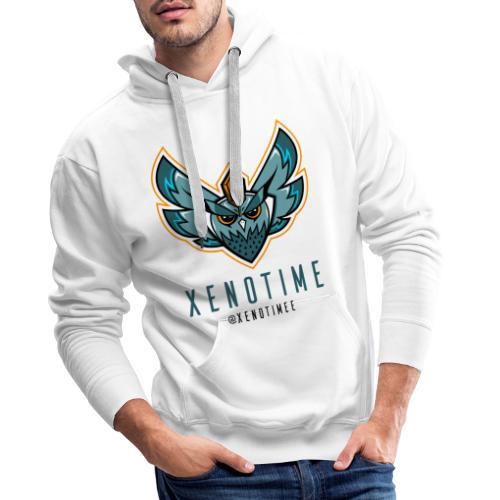 Logo + Texte + Tag + Bleu - Sweat-shirt à capuche Premium pour hommes