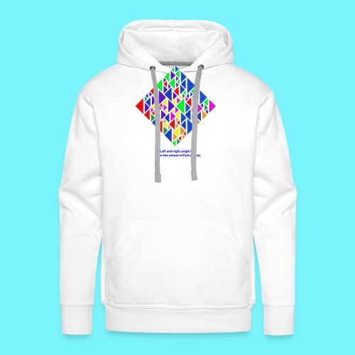 Left and right angle fish, school of Pythagoras - Men's Premium Hoodie