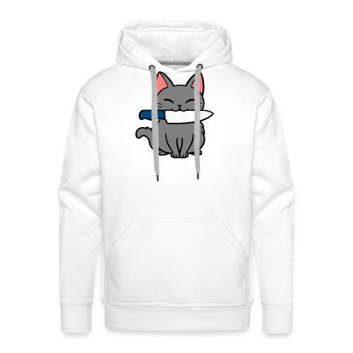 Fröhliche Katze mit Messer - Männer Premium Hoodie