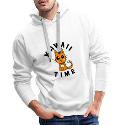 KAWAII RED CAT - Sweat-shirt à capuche Premium pour hommes