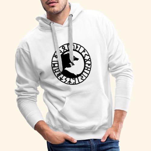 loup_runes_flocage - Sweat-shirt à capuche Premium pour hommes