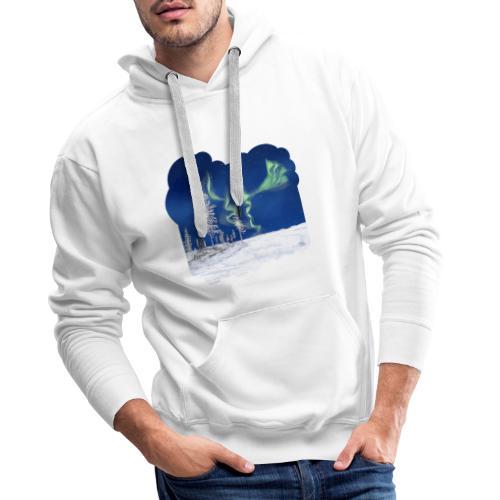 hiver avec des aurores boréales - Sweat-shirt à capuche Premium pour hommes