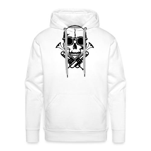tete de mort skull crane trompette musiq - Sweat-shirt à capuche Premium pour hommes