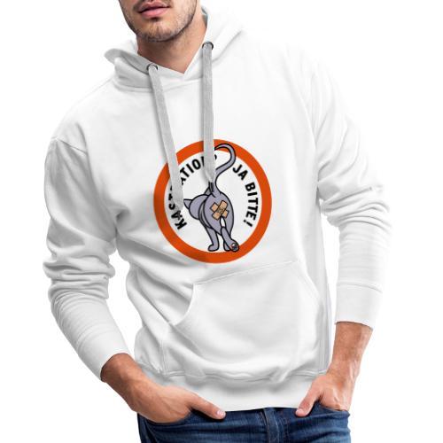 Kastration ja bitte und Katzentatzen-Logo - Männer Premium Hoodie